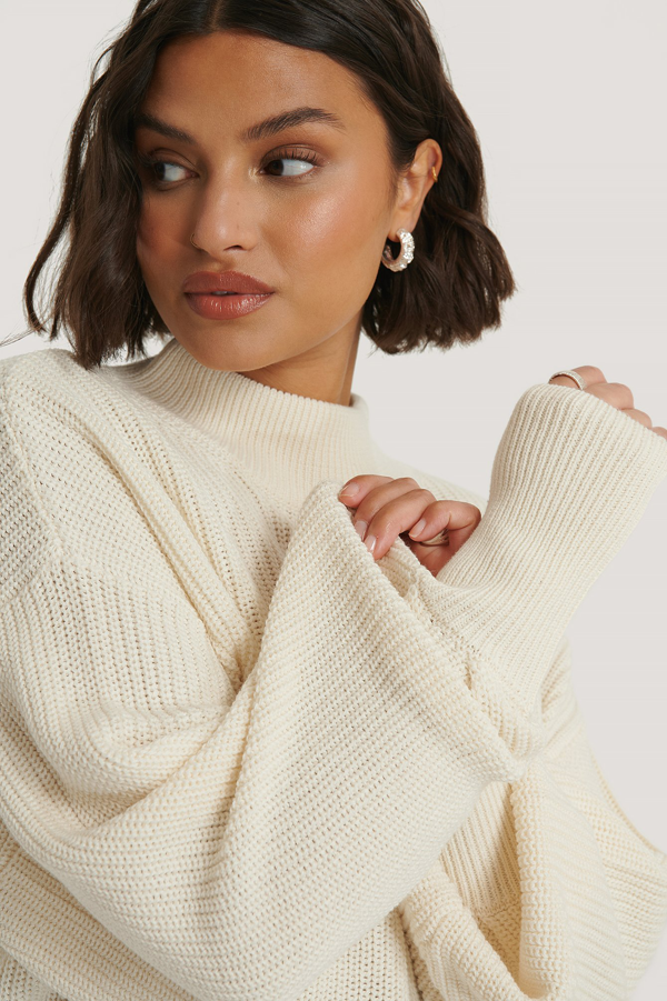 Na-kd Reborn Organic Volume Sleeve High Neck Knitted Sweater Offwhite