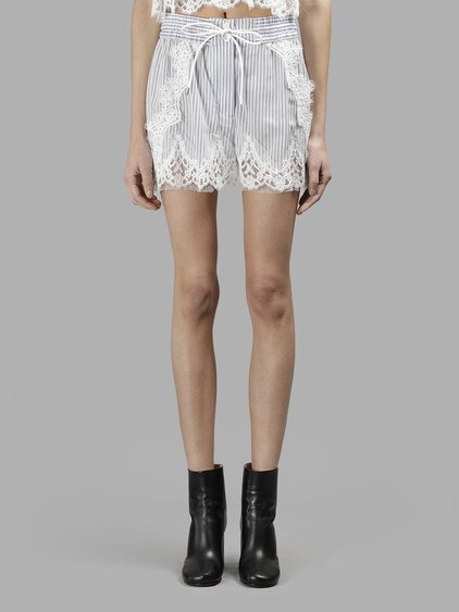 Sacai Lace-Trimmed Striped Shell Shorts In White