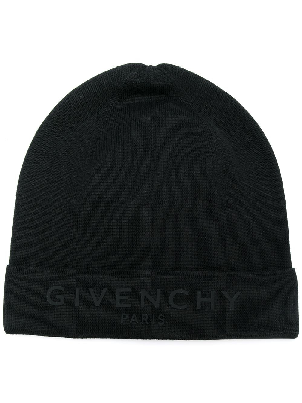 Givenchy Logo-detailed Cotton And Cashmere-blend Beanie In Black