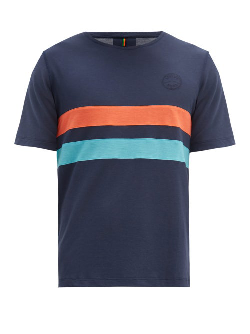 Iffley Road Cambrian Logo-embroidered Striped Drirelease T-shirt In Navy Multi
