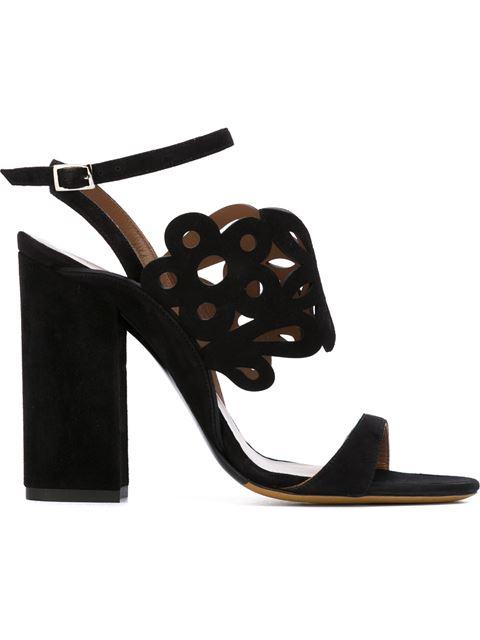 Tabitha Simmons Emi Floral Laser-cut Suede Sandal, Black
