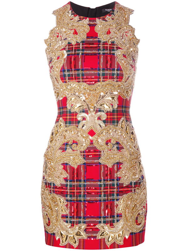 Balmain Sequin-embellished Plaid Cocktail Dress In Red