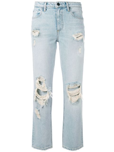Alexander Wang Destroyed Cult Straight-Leg Jeans In Blue