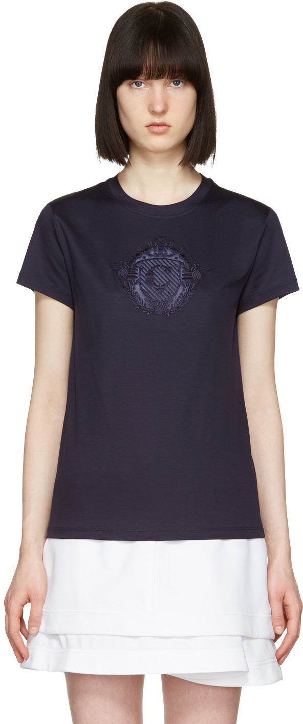 Carven Embroidered Motif T-Shirt In Marine Fonce