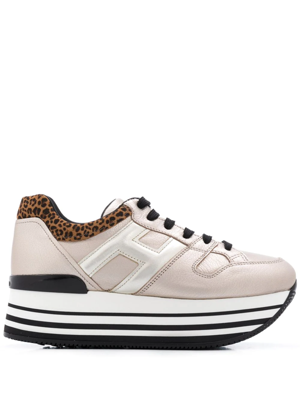 Hogan H222 Gold Sneakers With Leopard-print Heel Tab In Neutrals