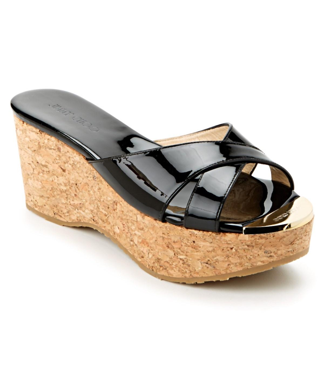 Jimmy Choo Prima Patent & Cork Wedge Sandal In Black