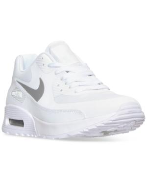 Nike Women's Air Max 90 Ultra 2.0 Running Sneakers From Finish Line In White/ Platinum/ White/ Black