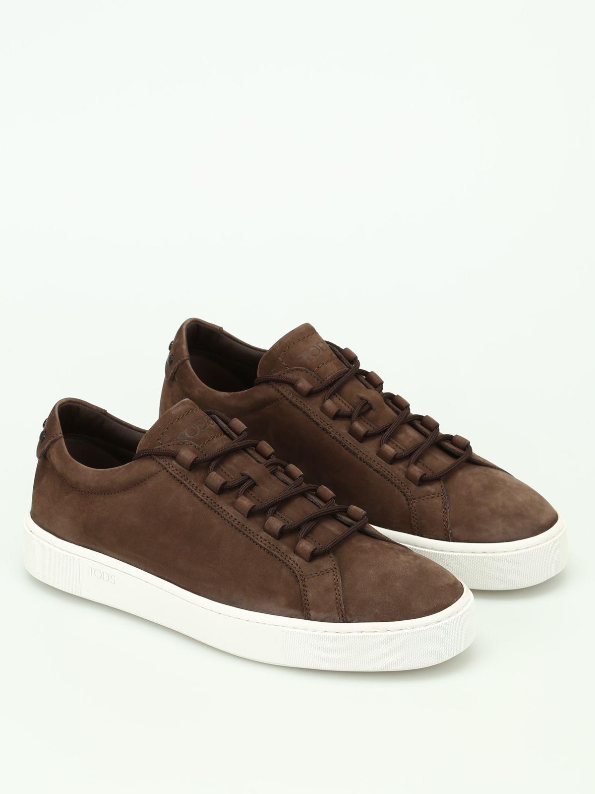 Tod's Soft Nubuck Sneakers In Brown