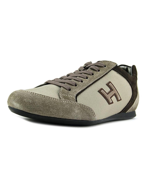 Hogan Olympia Uomo Mod.Sportivo H Flock Men   Suede Tan Fashion Sneakers In Khaki
