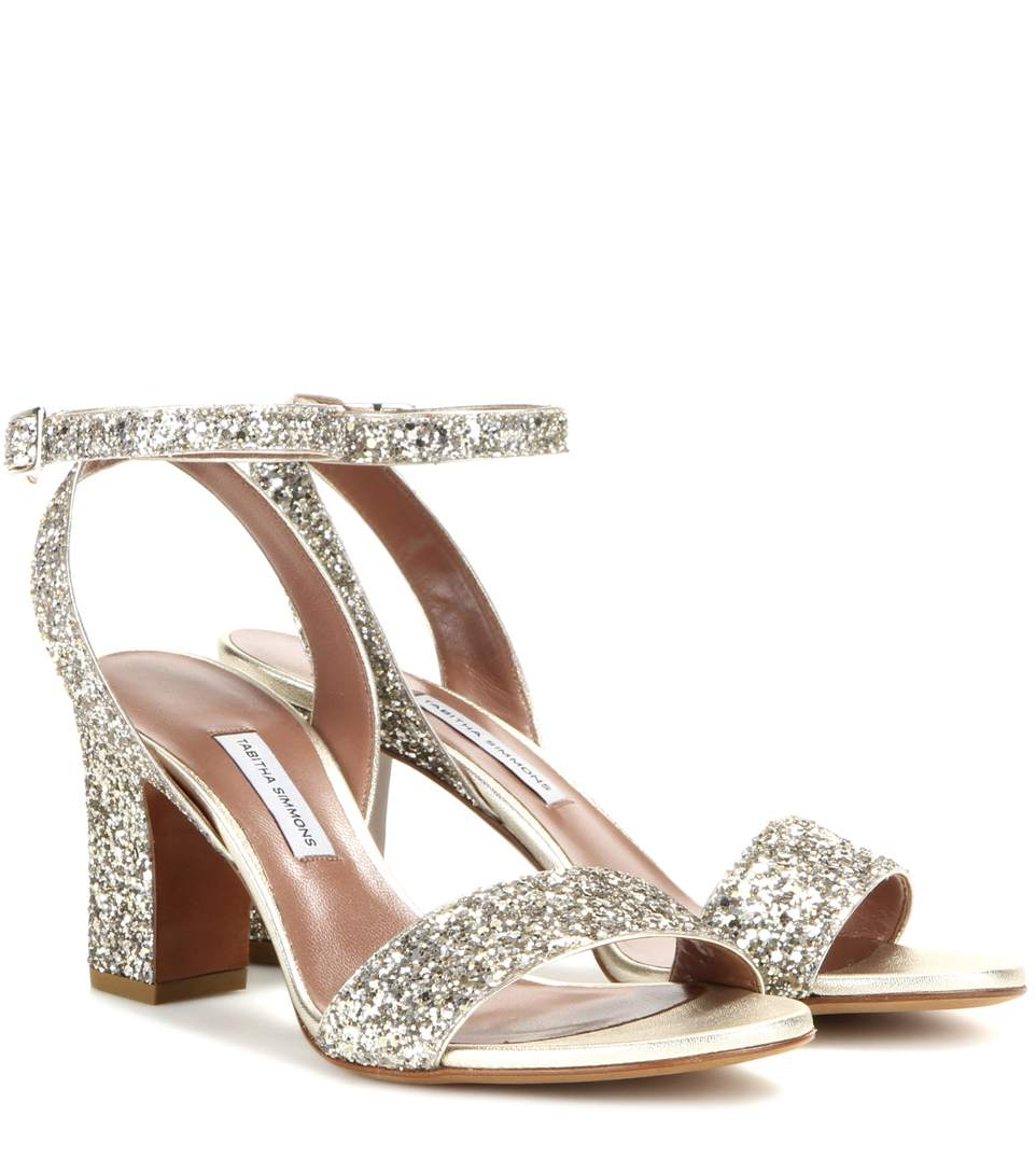 Tabitha Simmons Exclusive To Mytheresa.com - Leticia Glitter Sandals In Champagee Glitter