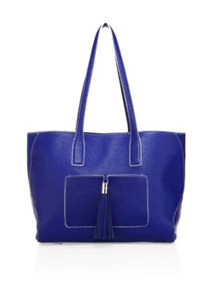 Milly Astor Large Pebble Leather Tote In Navy