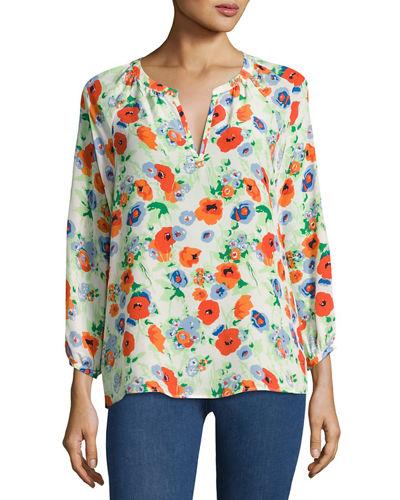 Joie Mckenna Floral-Print Silk Blouse In White Pattern