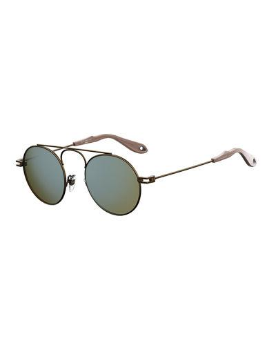 Givenchy Men's Gv 7054 Small Round Sunglasses, Silver In Brown