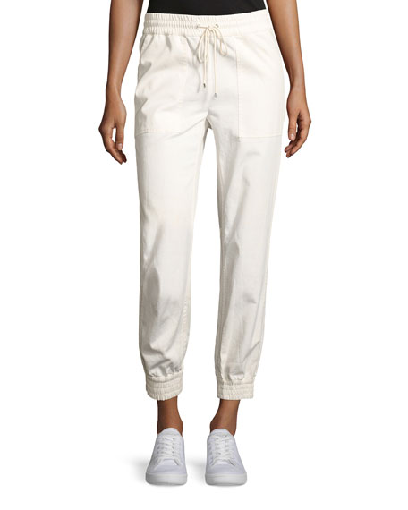 Theory Cortland Relaxed Cotton Jogger Pants, Ivory, White