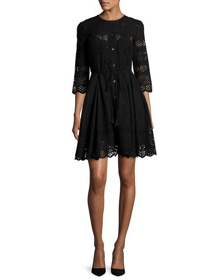 Theory 'Kalsingas E' Cutwork Embroidery Cotton Dress In Black