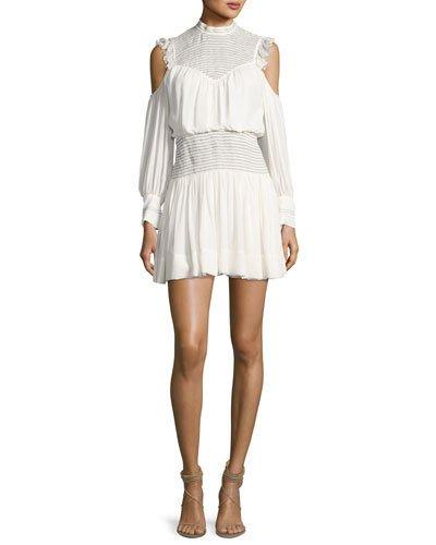 Cinq À Sept Shahla Cold-Shoulder Silk Blouson Mini Dress, Ivory/Black In White/Black