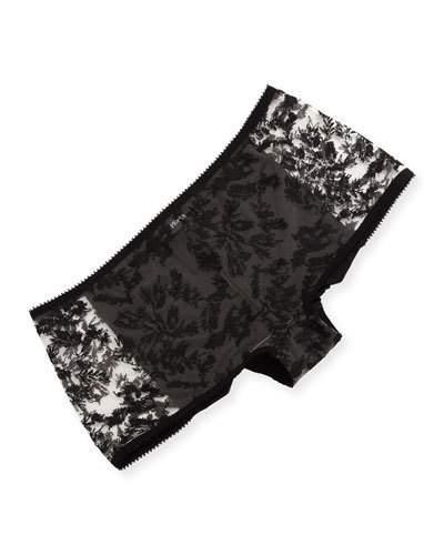 La Perla Autografo Lace-Front Boyshorts, Black Pattern In Nude/Black