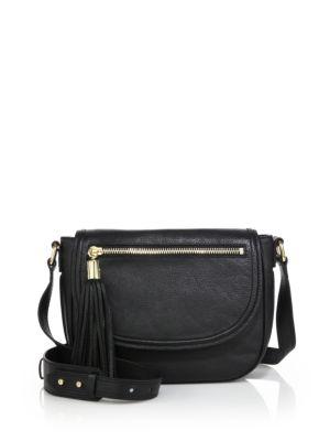 Milly Astor Leather Saddle Bag In Black