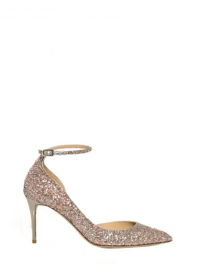 Jimmy Choo Lucy 85 Glittered Leather Pumps In Pink