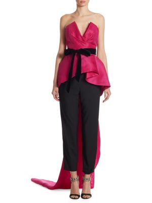 Monique Lhuillier Strapless Peplum Top With Velvet Ribbon, Bright Pink/Black In Orchid