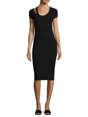 Helmut Lang Black Ribbed Jersey Midi Dress