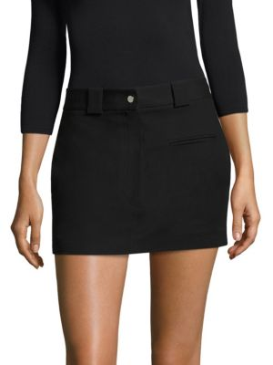 Helmut Lang Cotton-Stretch Mini Skirt, Black