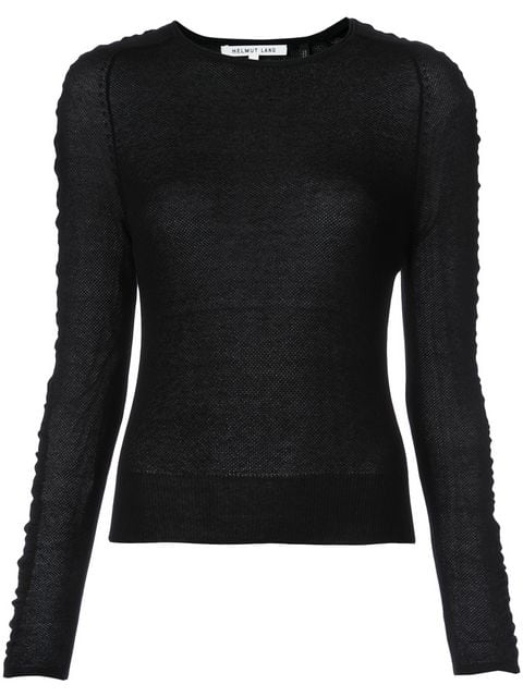 Helmut Lang Ruched-Sleeve Silk-Blend Sweater In Black