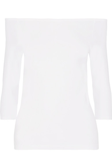 Helmut Lang Off-The-Shoulder Stretch-Jersey Top In Optic White