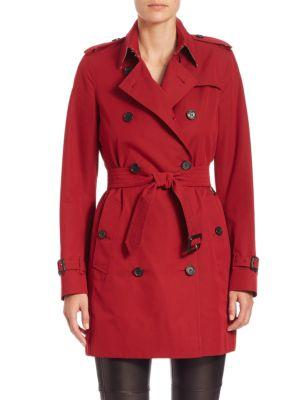 Burberry The Kensington Mid Cotton-Gabardine Trench Coat In Parade Red