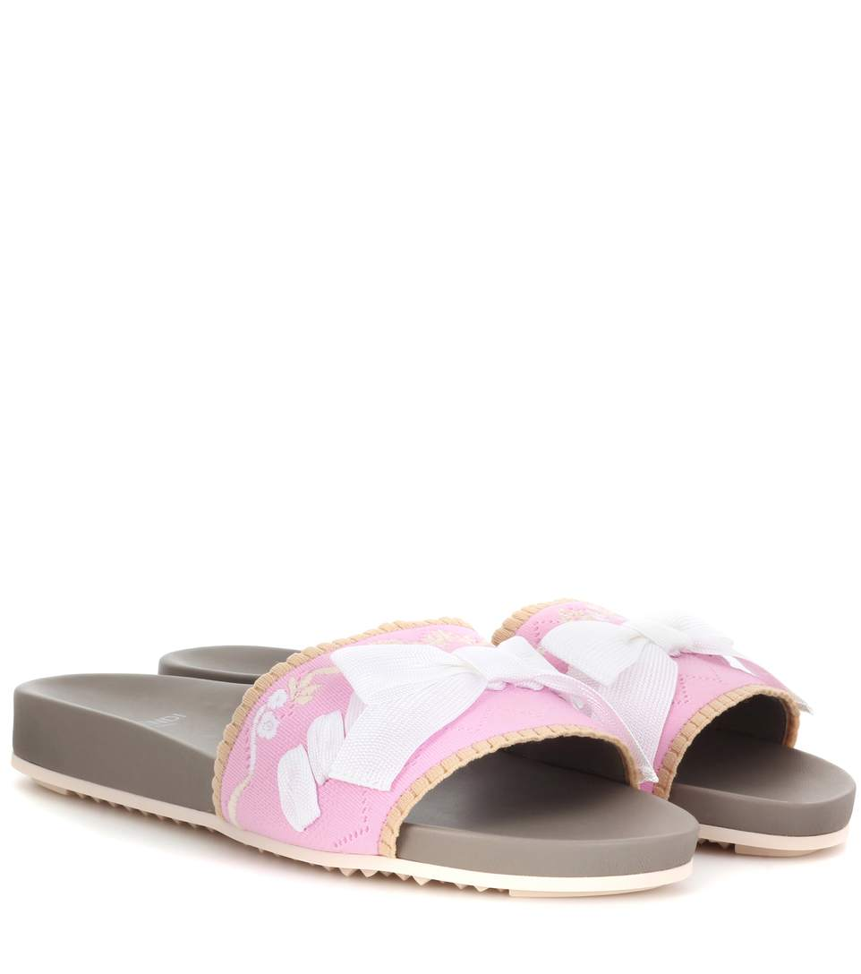 Fendi Bow-Embellished Embroidered Stretch-Knit And Leather Slides In Pink & Purple