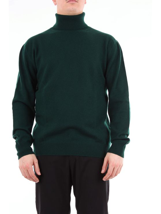 Hōsio Sweater With Green-colored High Collar In Grey