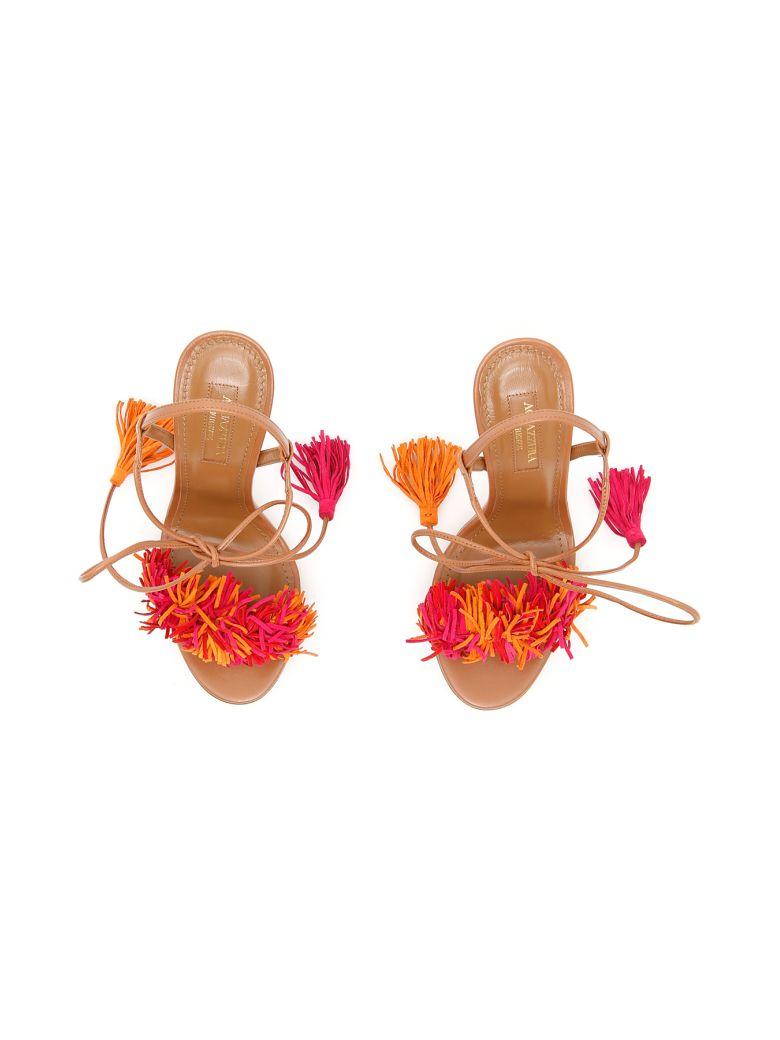 Aquazzura Wild Thing Sandals In Whiskey Multi Redmarrone