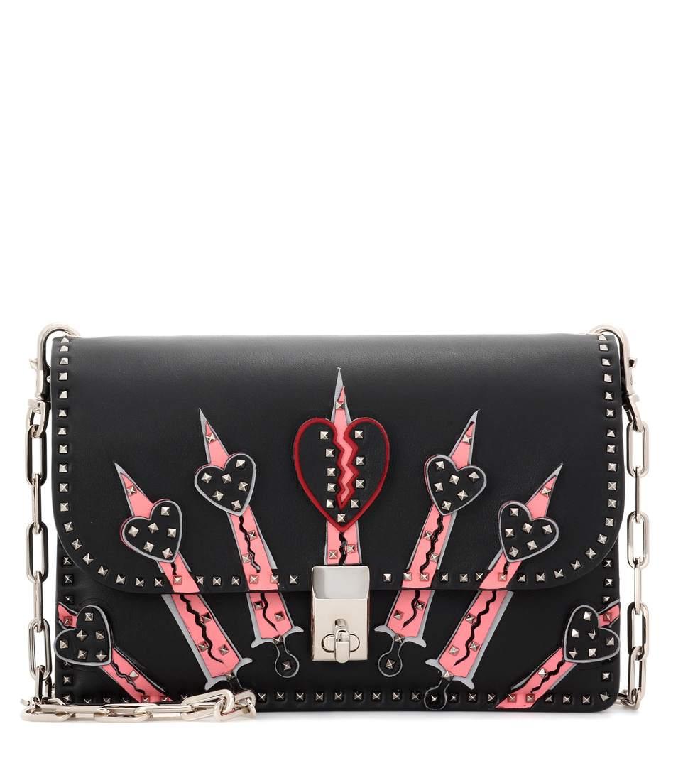 Valentino Rockstud Love Blade Leather Shoulder Bag In Llack