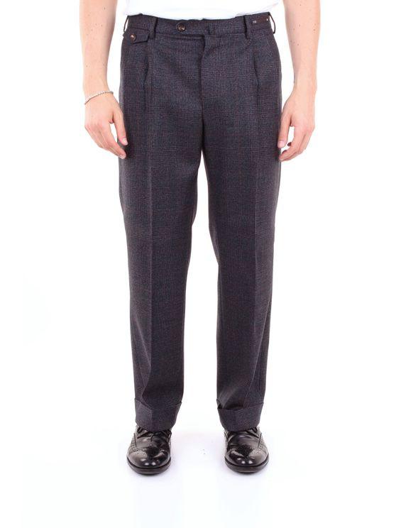 Pt01 Trouser Men Blue Gray And Burgundy In Grey