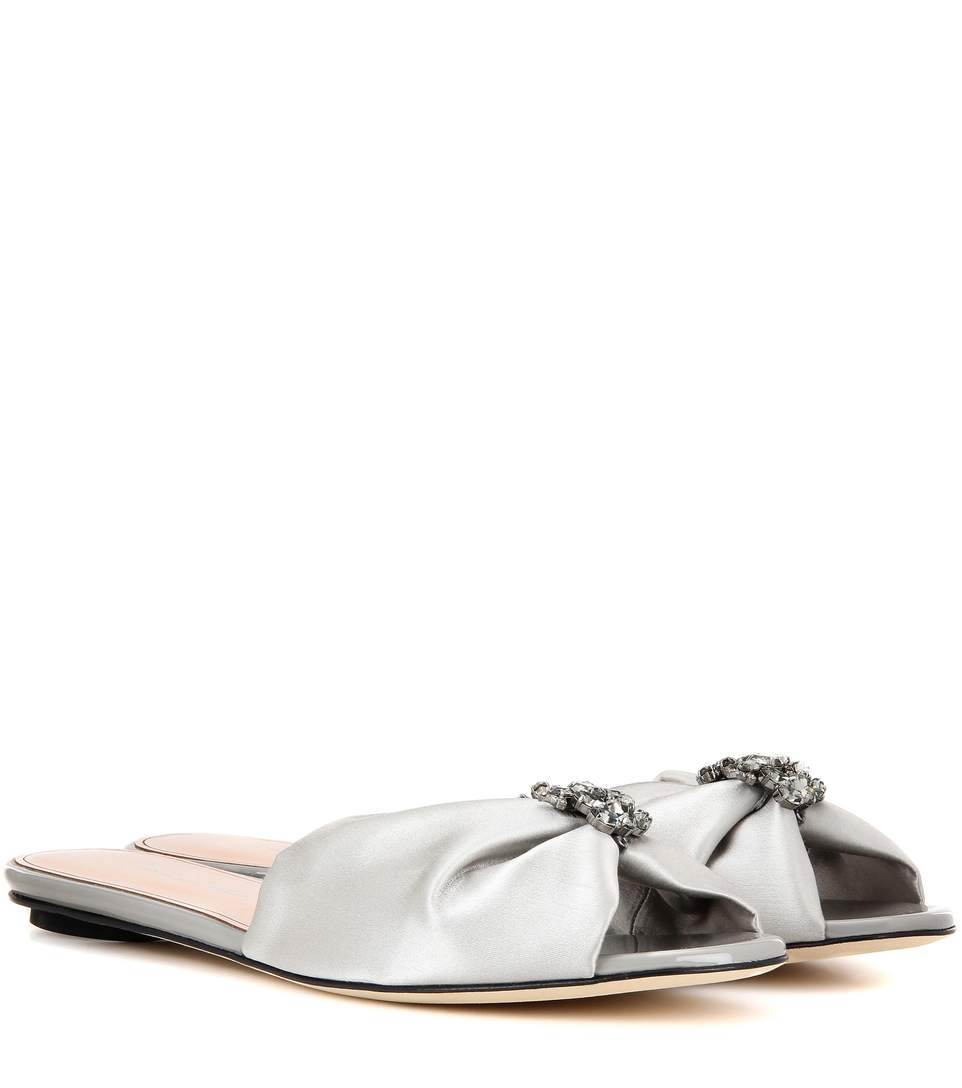 Oscar De La Renta Satin Slip-On Sandals In Silver
