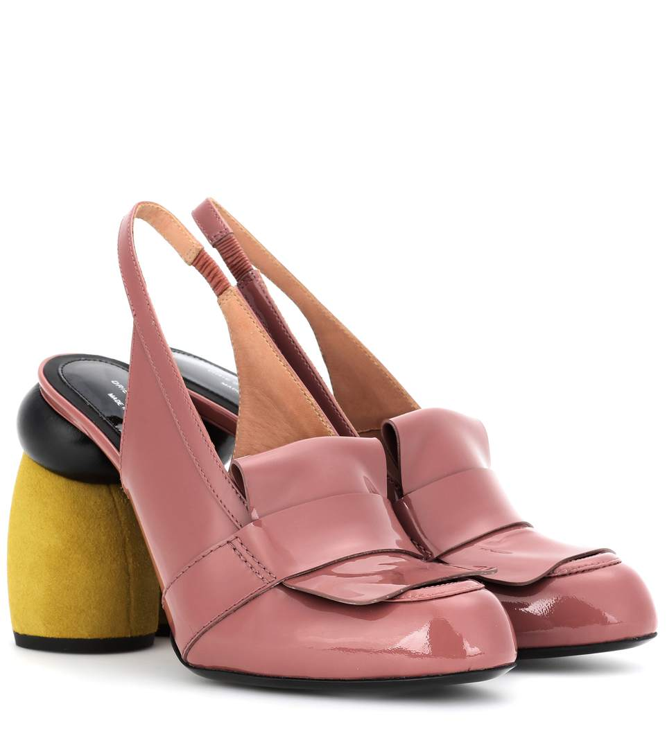 Dries Van Noten Patent Leather Sling-Back Pumps In Rose