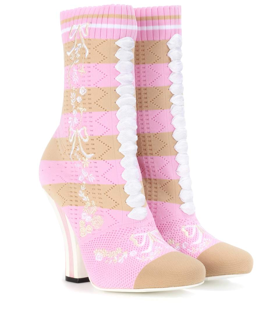 Fendi Stretch-Knit Ankle Boots In Pink & Purple