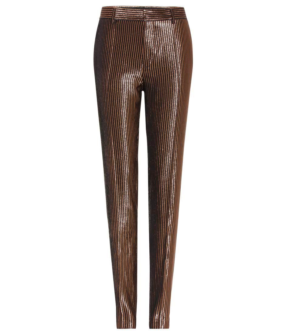 Haider Ackermann Striped Metallic Wool-And-Silk Blend Trousers In Phoeeix Llack