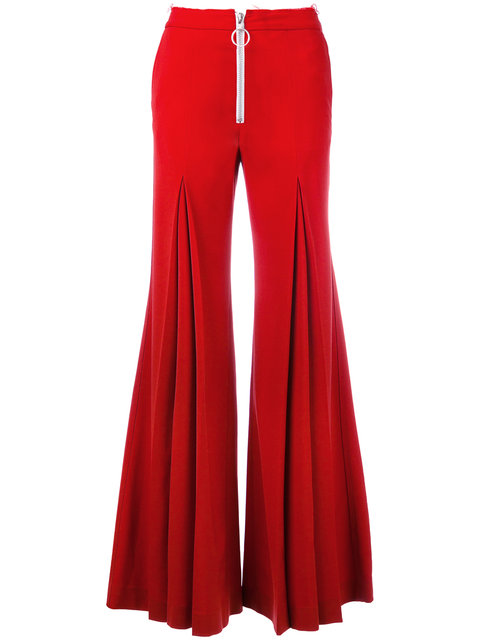 Off-White Central Pleat Wool-Blend Trousers In Red