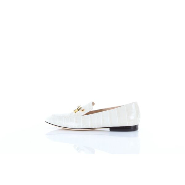 Polly Plume Crocodile Pattern Loafers In White