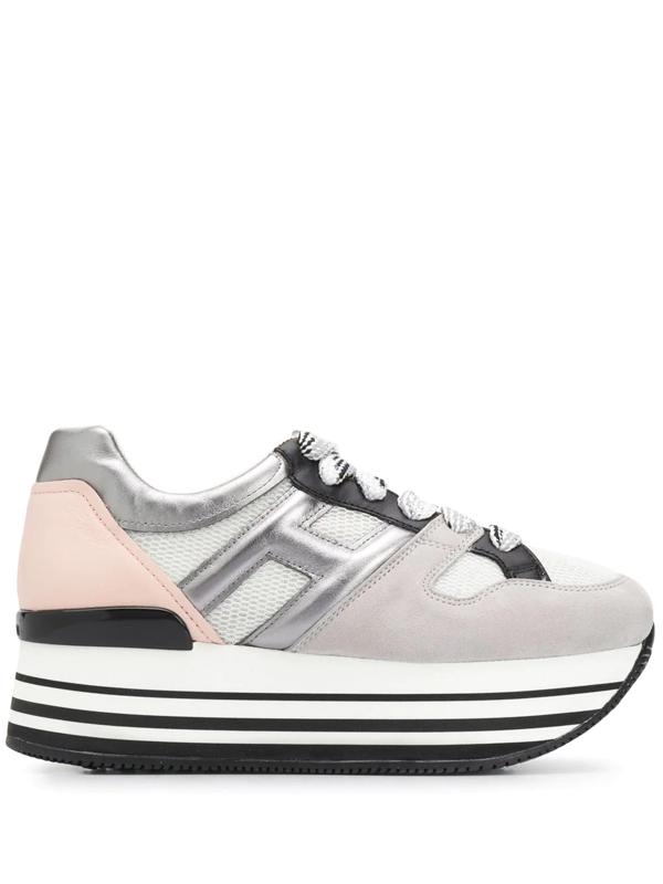 Scarpa Maxi Platform Tela/suede Argento/nero/rosa In Grey