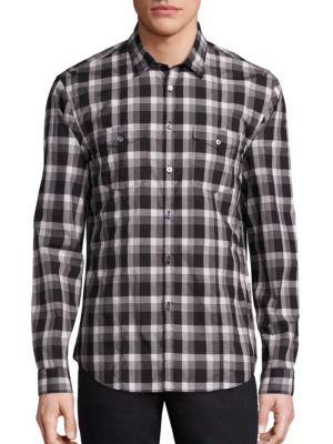 John Varvatos Long Sleeve Plaid Sportshirt In Black