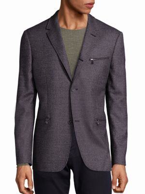 John Varvatos Thompson Cotton Blazer In Gunmetal