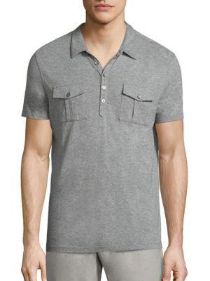 John Varvatos Heathered Regular-Fit Polo In Grey Heather