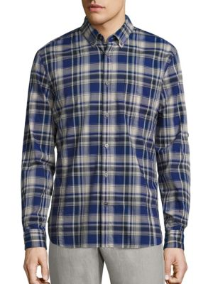 John Varvatos Plaid Button-Down Shirt In Cobalt