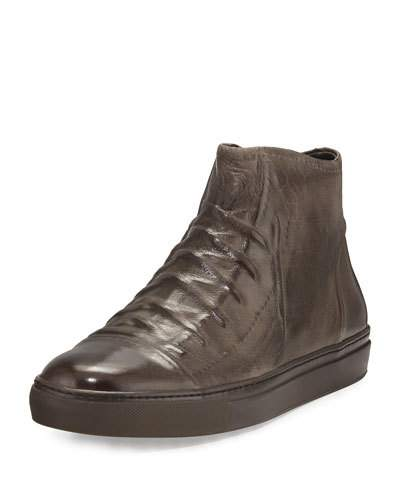 John Varvatos Reed Ghosted Leather High-Top Sneakers In Brown