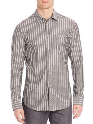 John Varvatos Slim-Fit Casual Button-Down Shirt In Black White