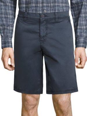 John Varvatos Slim-Fit Cotton & Linen Shorts In Mercury Grey