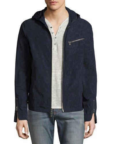 John Varvatos Camouflage Hooded Zip-Front Jacket, Indigo