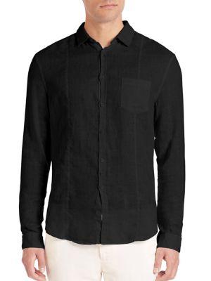 John Varvatos Slim-Fit Linen Button-Down Shirt In Black
